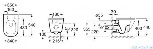 Roca Gap miska WC wisząca MaxiClean + deska wolnoopadająca Slim A34647700M/A801482211