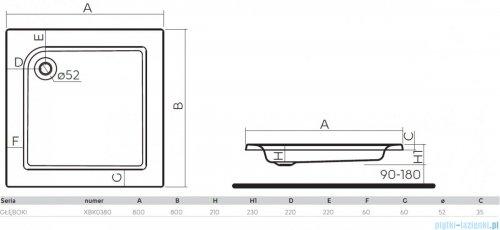 Koło Głęboki Brodzik 80x80cm kwadratowy XBK0380000
