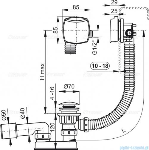 Alcaplast  syfon wannowy klik-klak z funkcją napełniania przez przelew do wanien grubościennych, chrom A509KM-80