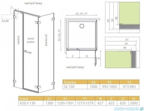 Radaway Arta Kds II kabina 130x100cm lewa szkło przejrzyste 386522-03-01R/386106-03-01/386112-03-01