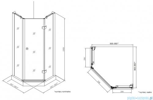 Roca Metropolis Diamond kabina 90x90cm szkło przejrzyste rysunek techniczny