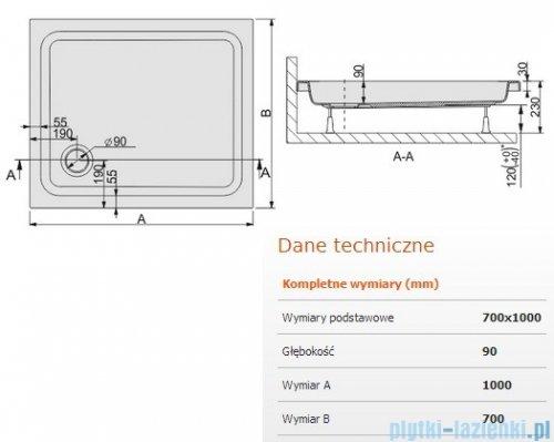 Sanplast Free Line brodzik prostokątny 100x70x9cm+stelaż 615-040-0070-01-000