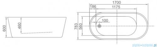 ScandiBath Baldur wanna wolnostojąca 170x78cm + syfon klik-klak wizualizacja