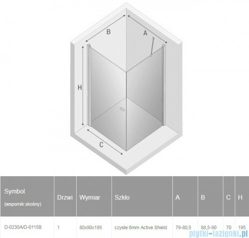 New Trendy New Soleo Black 80x90x195 cm kabina prostokątna wspornik skośny przejrzyste D-0230A/D-0115B