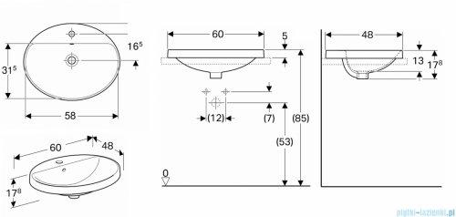 Koło Variform umywalka wpuszczana w blat 60x48cm 500.724.01.6