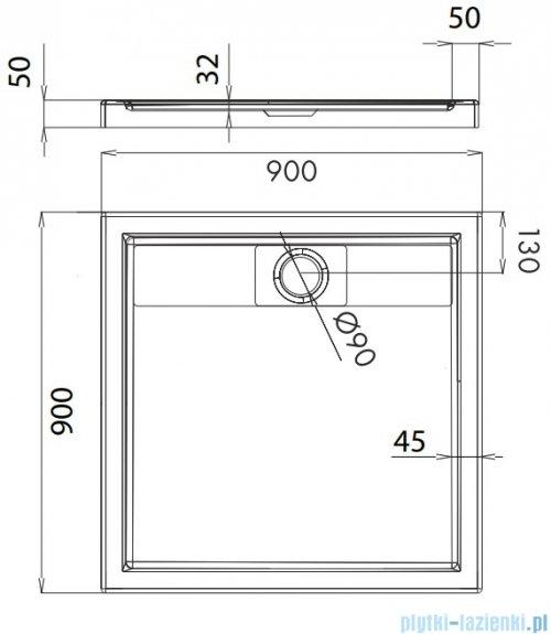 Omnires Brooklyn brodzik akrylowy kwadratowy 90x90 cm Brooklyn90/K