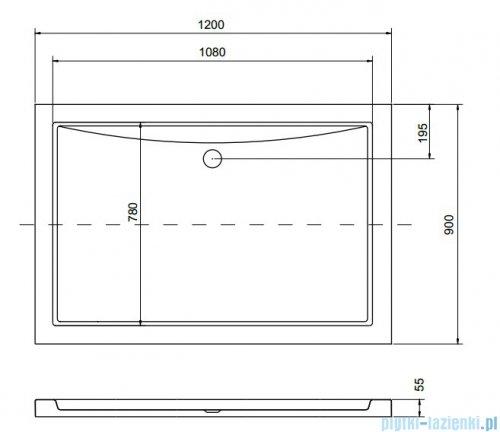 Besco Alpina Brodzik 120x90x3/5.5cm prostokątny wpuszczany w posadzkę #BAA-120-K