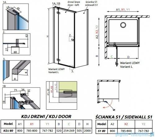 Radaway Essenza New Kdj kabina 80x80cm lewa szkło przejrzyste rysunek techniczny