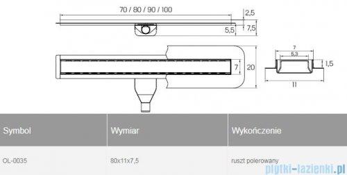 New Trendy Vimo odpływ liniowy z rusztem polerowanym 80x11x7,5 cm OL-0035