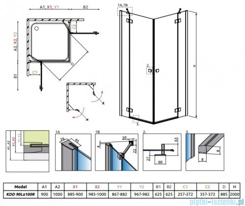 Radaway Essenza New Kdd kabina 90x100cm szkło przejrzyste 385060-01-01L/385062-01-01R