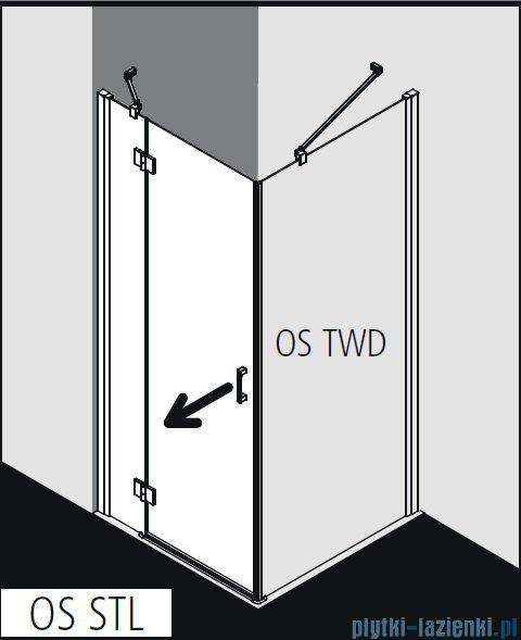 Kermi Osia Drzwi prysznicowe 1 skrzydłowe z polem stałym lewe, szkło przezroczyste 120 cm OSSTL12020VPK