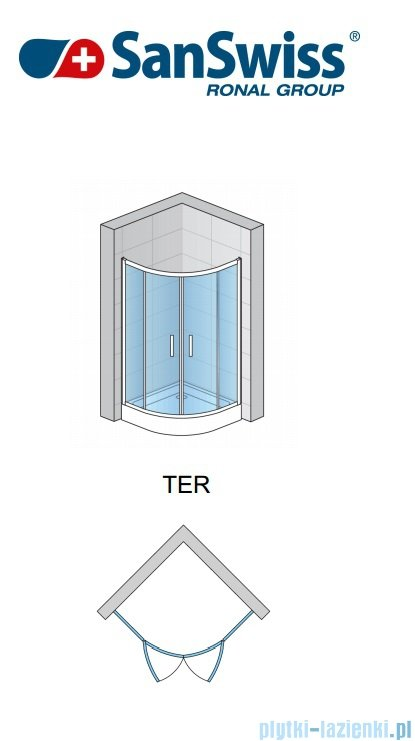 SanSwiss Top-Line Ter Kabina półokrągła 90cm profil srebrny TER550900107