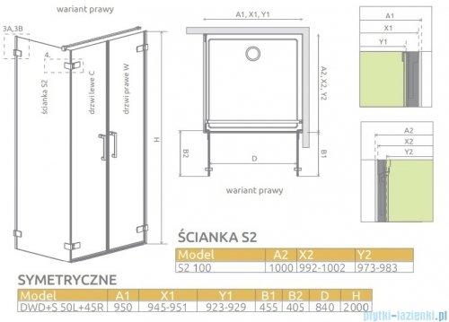 Radaway Arta Dwd+s kabina 95 (50L+45R) x100cm prawa szkło przejrzyste 386181-03-01R/386057-03-01L/386112-03-01