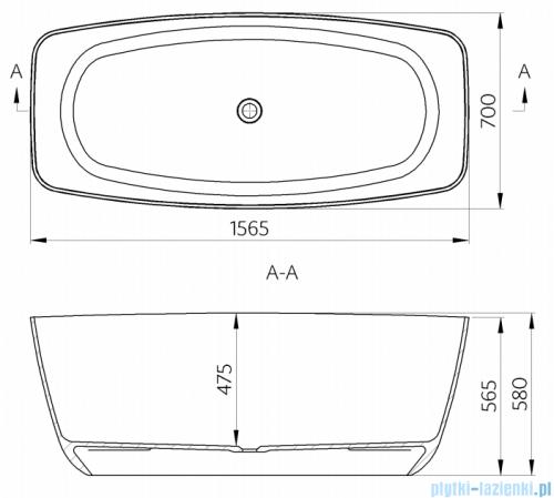 Omnires Ferrara 156 wanna wolnostojąca 156x70cm biały połysk rysunek techniczny