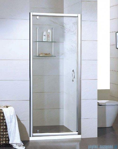 Kermi Acca Drzwi prysznicowe z przesuniętym punktem obrotu, szkło przezroczyste AccaClean, profile srebrne 80cm ACKOD08019VPK