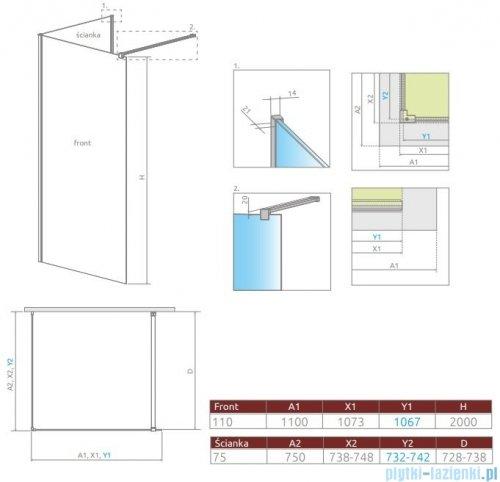 Radaway Modo New IV kabina Walk-in 110x75 szkło przejrzyste 389614-01-01/389075-01-01