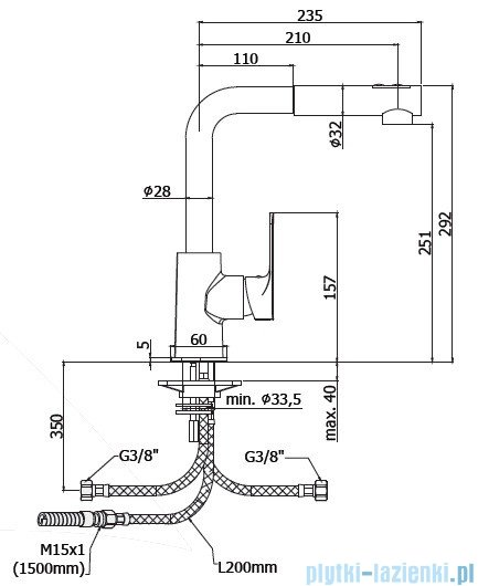 Paffoni  Bateria kuchenna dwustrumieniowa SLY chrom SY285CRCR