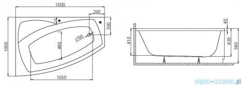 Polimat Frida wanna asymetryczna 150x100 prawa + obudowa + syfon rysunek techniczny
