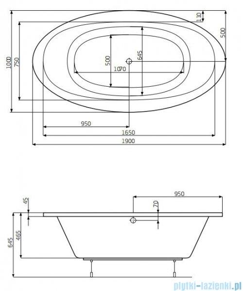 Roca Aura wanna 190x100cm z hydromasażem Effects Gold Opcja A24T269000