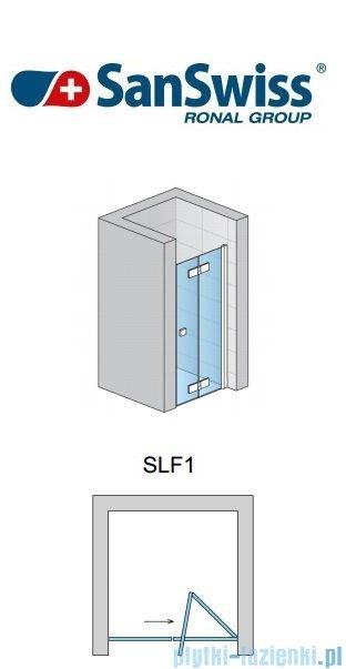 SanSwiss Swing Line F SLF1 Drzwi dwuczęściowe 50-100cm profil biały Prawe SLF1DSM10407