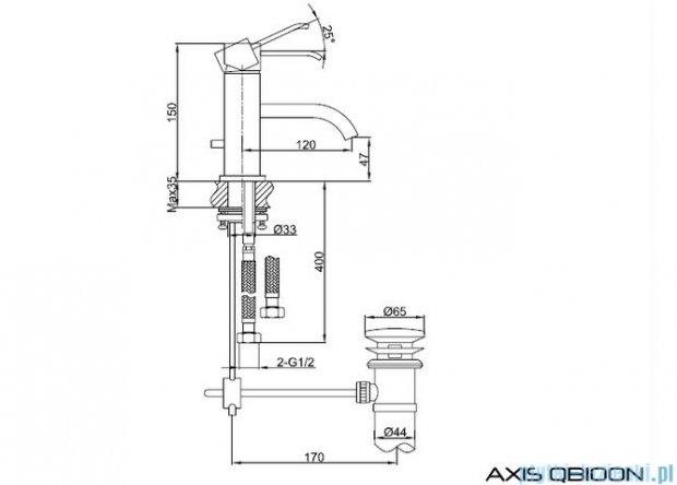 Kohlman Axis bateria umywalkowa QB100N