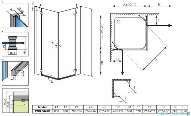 Radaway Torrenta Kdd kabina 80x80 szkło carre + Brodzik Delos C + Syfon 32262-01-10N