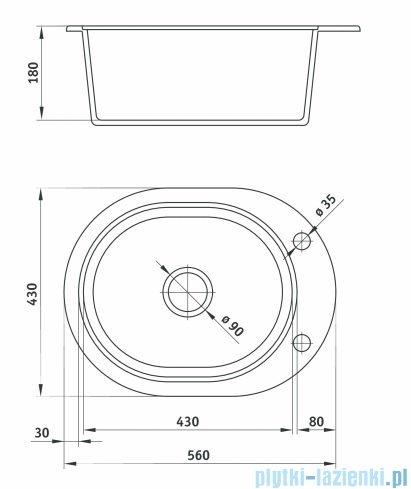 Deante Country Zlewozmywak 1-komorowy bez ociekacza okrągły,kolor grafitowy ZQU 211C
