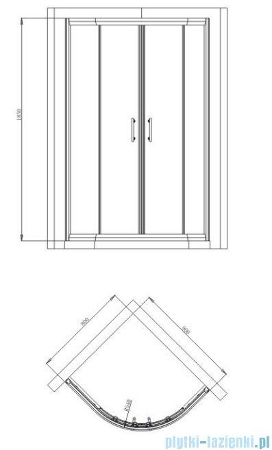 Omnires Health kabina 2-skrzydłowa lewa JK28 80x90x185cm szkło przejrzyste JK2808/09L