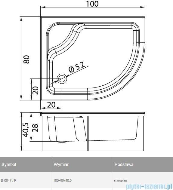 New Trendy Maxima brodzik asymetryczny z siedziskiem prawy 100x80 B-0047/P