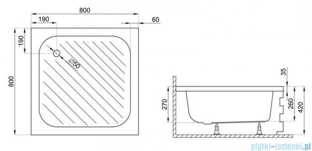 Polimat Kobe 1 brodzik kwadratowy ze stelażem bez siedziska 80x80x26 00303