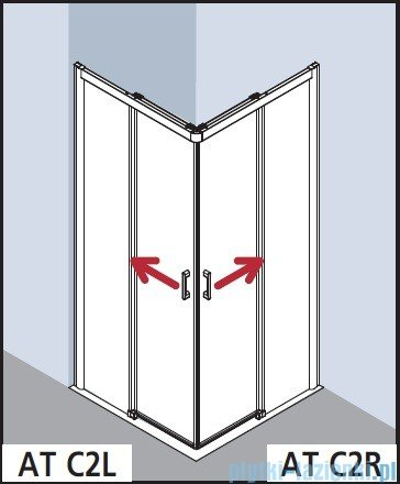 Kermi Atea Wejście narożne lewe, połowa kabiny, szkło przezroczyste, profile srebrne 100x185cm ATC2L10018VAK