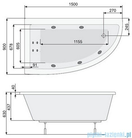 Poolspa Wanna asymetryczna LAURA 150x90 lewa + hydromasaż Smart 2 PHANW10ST2C0000