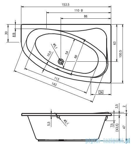 Riho Lyra wanna asymetryczna 153,5x100,5 lewa + nóżki + syfon BA68/08/AMC55