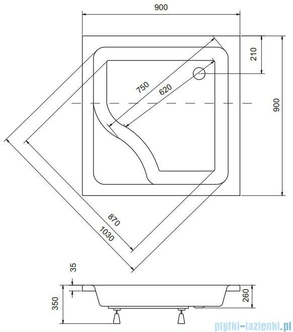 Sea Horse Sigma zestaw kabina natryskowa kwadratowa 90x90x162 chinchila + brodzik z siedziskiem BKZ2/3/QK/