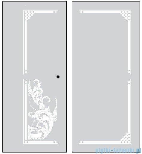 Kerasan Kabina kwadratowa prawa, szkło dekoracyjne piaskowane profile brązowe 100x100 Retro 9149P3