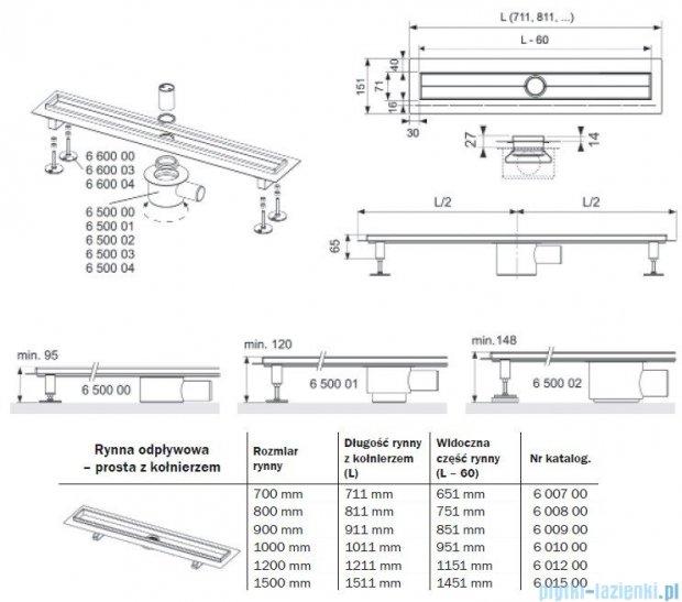 Tece Rynna odpływowa Tecedrainline-prosta z kołnierzem 100 cm 6.010.00