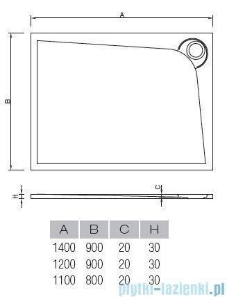 Vayer Bumerang 120x90cm Brodzik prostokątny z konglomeratu marmurowego prawy