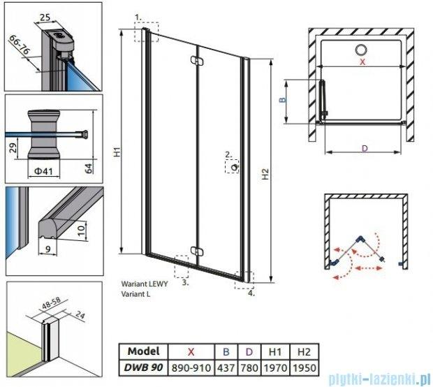 Radaway Eos DWB Drzwi wnękowe 90 lewe szkło przejrzyste + brodzik Delos C + syfon 37803-01-01NL