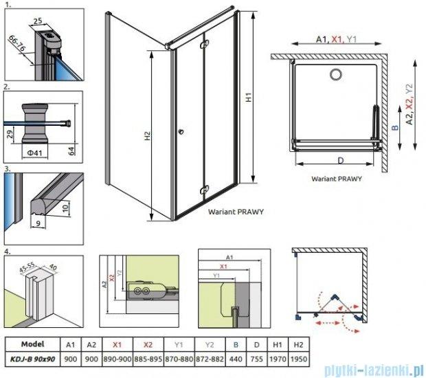 Radaway Eos KDJ-B kabina prysznicowa 90x90 prawa szkło intimato + brodzik delos C + syfon 37403-01-12NR