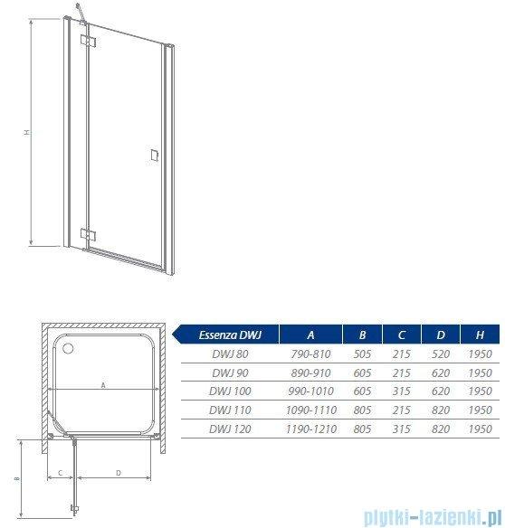 Radaway Essenza DWJ Drzwi wnękowe 90 lewe szkło przejrzyste 32702-01-01NL