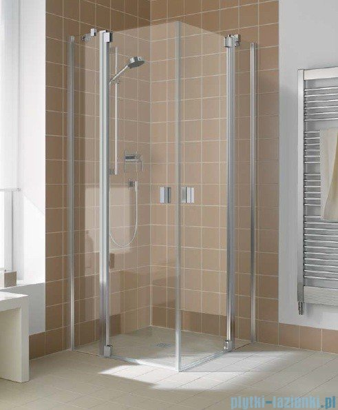 Kermi Raya Wejście narożne, 1 połowa, lewa, szkło przezroczyste, profile srebrne 120x200 RAEPL12020VAK