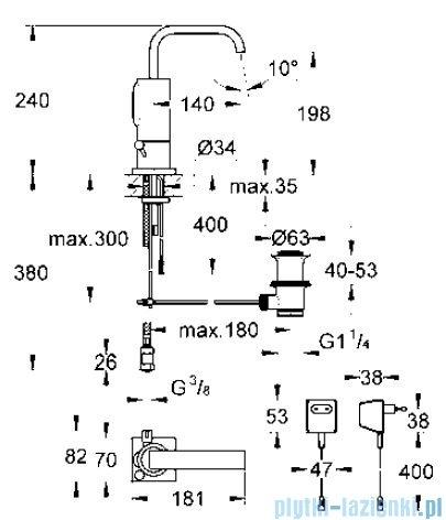 Grohe Allure E elektronika na podczerwień do umywalki z mieszaczem z transformatorem 230V 50 Hz 3,2VA 36097000