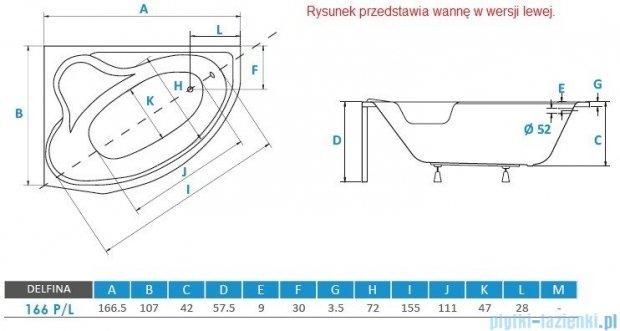 Piramida Delfina 166x107cm Wanna asymetryczna Lewa