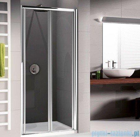 Novellini Drzwi prysznicowe harmonijkowe LUNES S 72 cm szkło przejrzyste profil biały LUNESS72-1D