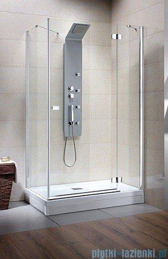 Radaway Kabina prysznicowa Fuenta KDJ 120x80 prawa szkło przejrzyste + Brodzik Argos D + syfon 381042-01R