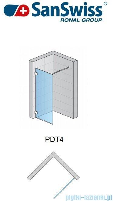 SanSwiss Pur PDT4 Ścianka wolnostojąca 30-100cm profil chrom szkło Krople Prawa PDT4DSM21044
