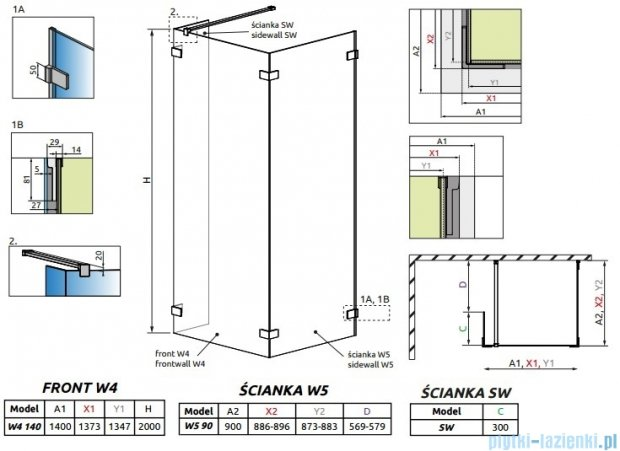 Radaway Euphoria Walk-in IV kabina 140x90cm szkło przejrzyste 383146-01-01/383151-01-01/383160-01-01
