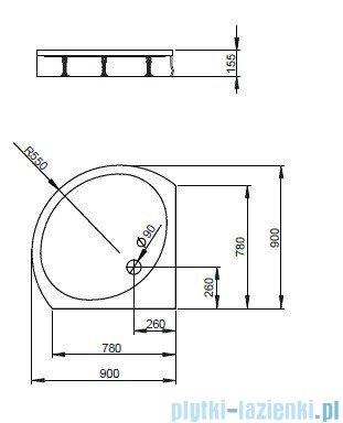 Radaway Patmos B Brodzik półokrągły 90x90 bez obudowy 4T99155-03B