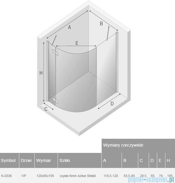 New Trendy New Merana kabina asymetryczna 120x85x195 cm prawa przejrzyste K-0336