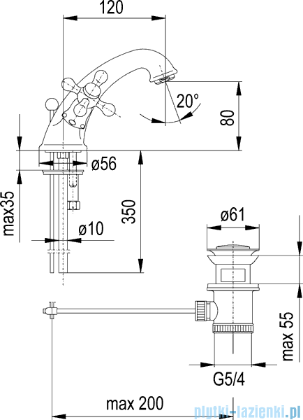 KFA RETRO bateria umywalkowa CHROM   372-845-00